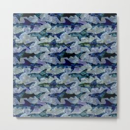 Deep Water Sharks Metal Print