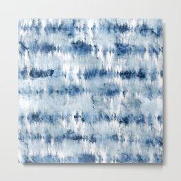 Modern hand painted dark blue tie dye batik watercolor Metal Print