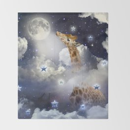 Shoot For The Moon (Giraffe In The Clouds) Throw Blanket