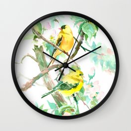 American Goldfinch and Apple Blossom Wall Clock