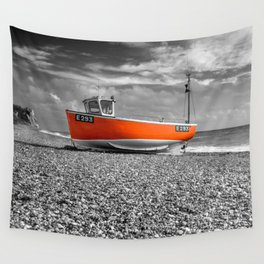 Orange Boat Wall Tapestry