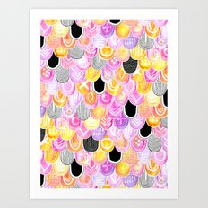 Citrus, Cotton Candy & Licorice Watercolor Scales Art Print