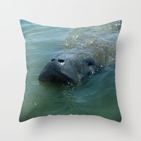 manatee Throw Pillows featuring Mister Manatee by Mister Groom