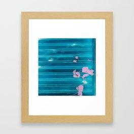 blue wooden wall pink jasmine minimal Framed Art Print