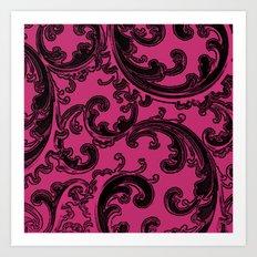 Pink Yarrow Retro Chic Swirl Art Print