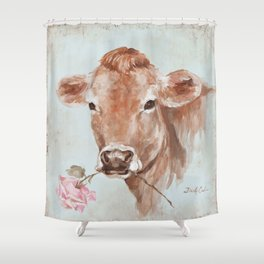 Cow with Rose by Debi Coules Shower Curtain