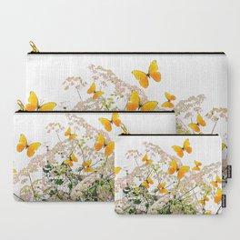 WHITE ART GARDEN ART OF YELLOW BUTTERFLIES Carry-All Pouch