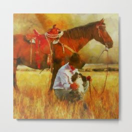 Cowgirl In A Fall Field Metal Print