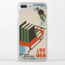 Vintage poster -  A Year of Good Reading Ahead Clear iPhone Case