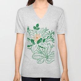 Japanese Style Green with Orange Flowers Unisex V-Neck
