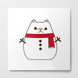 Cute Christmas Snowman Pupsheen Metal Print