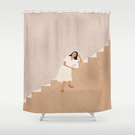 Girl Thinking on a Stairway Shower Curtain