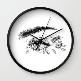 Rose Petals in Her Eyes Wall Clock