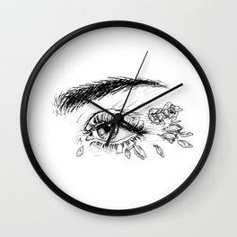 Rose Petals in Her Eyes Wall Clock