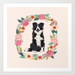 border collie black and white floral wreath dog gifts pet portraits Art Print