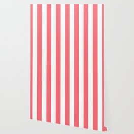 Begonia pink - solid color - white vertical lines pattern Wallpaper