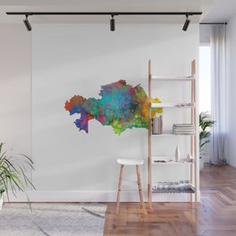 Kazakhstan Watercolor Map Wall Mural