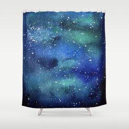 Galaxy Space Sky Watercolor Cosmic Art Shower Curtain