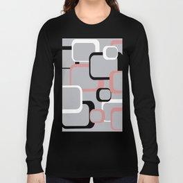 Retro Square Pattern Black Pink White Gray Long Sleeve T-shirt