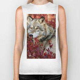 Wolf in red foliage Biker Tank