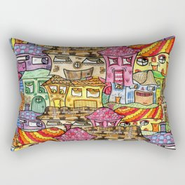 Suburbia watercolor collage Rectangular Pillow