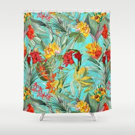 Vintage & Shabby Chic - Pierre-Joseph Redouté -Colorful Tropical Blue Garden Shower Curtain