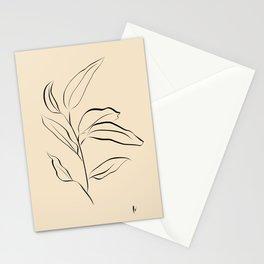 Leaf Stem: Botanical Print (Black and Sand) Stationery Cards