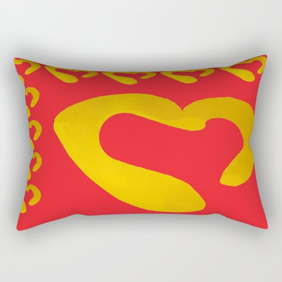 Gold Hearts on Red Rectangular Pillow