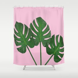 Green Monstera Plants In Pink  Shower Curtain