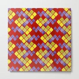 Blue yellow gold mosaic pattern on metallic red Metal Print