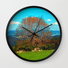 Lonely old tree in springtime scenery Wall Clock