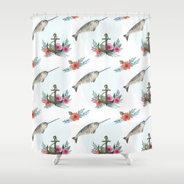 Summertime Nautical Narwhal Shower Curtain
