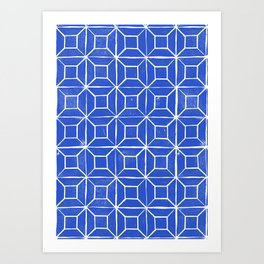 Geometric Lino - Cobalt blue Art Print