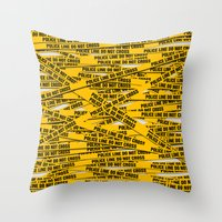 police Throw Pillows featuring Police Line by Vadim Cherniy