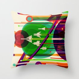 NASA Outer Space Saturn Shuttle Retro Poster Futuristic Explorer Throw Pillow