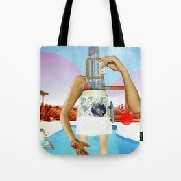 the crazy woman and the world of consumption Tote Bag