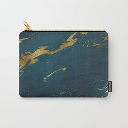 Teal Gold Marble Carry-All Pouch