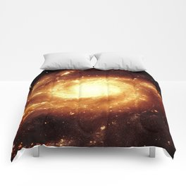 Golden Spiral Galaxy Comforters