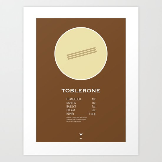 Toblerone Cocktail Recipe Poster (Imperial) Art Print