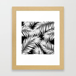 Palm Tree Fronds White on Black Hawaii Tropical Décor Framed Art Print