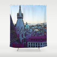 vienna Shower Curtains featuring Vienna,City, toony by MehrFarbeimLeben
