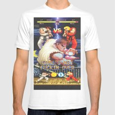 GAME'S NOT FUCKIN OVER! pt. 1 White Mens Fitted Tee MEDIUM