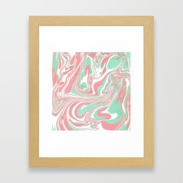 Elegant pink green abstract watercolor marble Framed Art Print