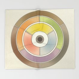 The theory of colouring - Diagram of colour by J. Bacon, 1866, Remake, vintage wash (no text) Throw Blanket