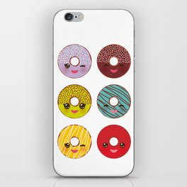 Kawaii colorful donut with pink cheeks and winking eyes, Sweet donuts set with icing and sprinkls iPhone Skin
