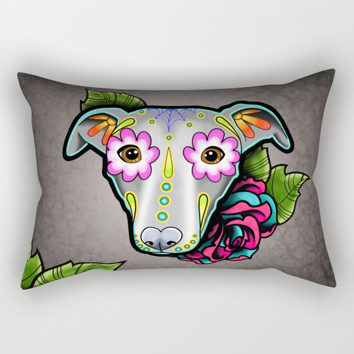 Greyhound - Whippet - Day of the Dead Sugar Skull Dog Rectangular Pillow