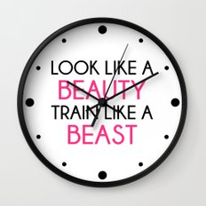 Look Like A Beauty / Train Beast Gym Quote Wall Clock