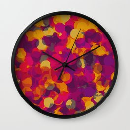 orange yellow pink and purple circle pattern abstract background Wall Clock