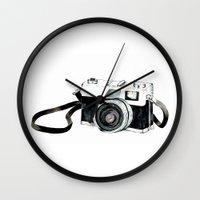 vintage camera Wall Clocks featuring Vintage camera  by Bridget Davidson