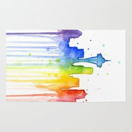 Seattle Skyline Rainbow Watercolor Rug